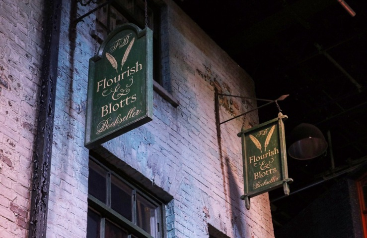Flourish & Blott's Book shop Sign
