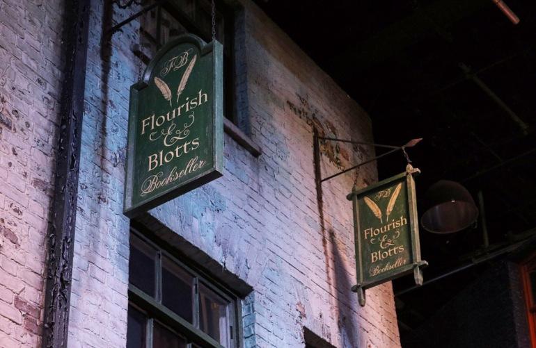 Flourish & Blott's Book shop Sign