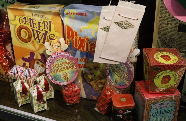 Wizard World sweets - shock-a-chocs, Cauldron Cakes, cheeri owls, bertie boots every flavour beans, fizzing wizzbees