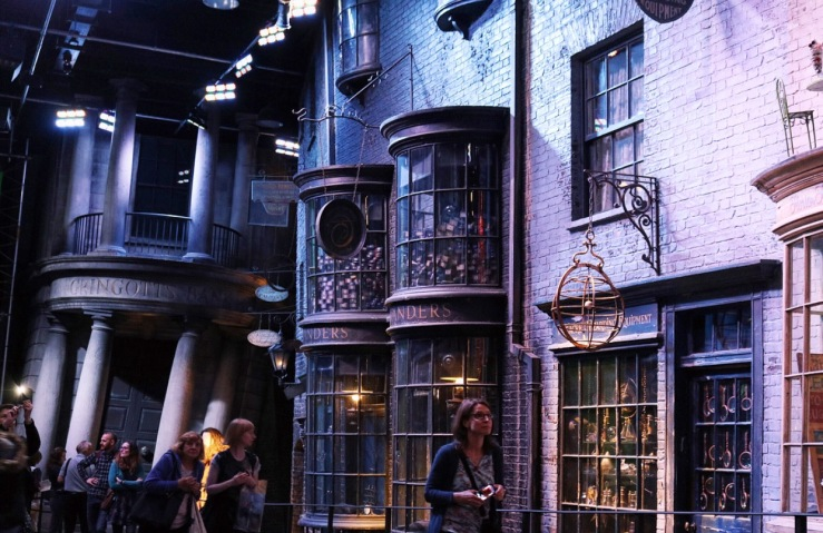 Looking down Diagon Alley - Gringotts & Ollivanders