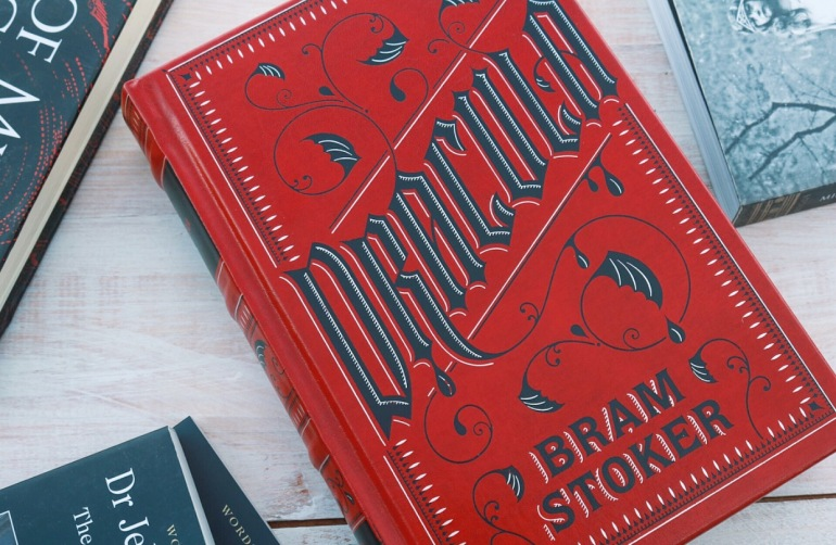 Flat Lay: Dracula, by Bram Stoker (Red Leather-bound classic by Barnes & Nobles)